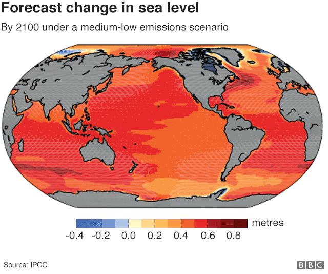 Image result for picture global map Forecast change in sea level by 2100 under a medium-low scenario