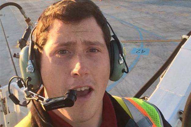 "Undated ""selfie"" picture available on social media on August 11, 2018 shows Richard B Russell, a ground service agent at the Seattle-Tacoma International Airport"