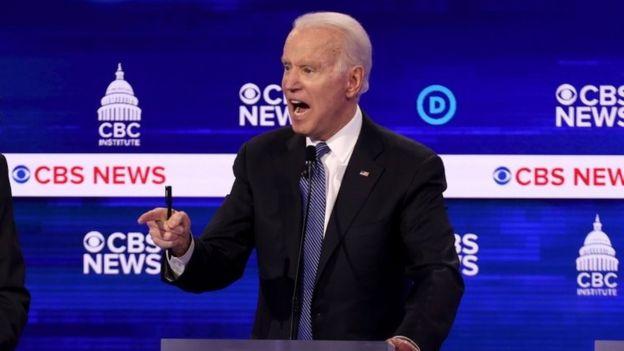 Joe Biden speaks during the debate in Charleston, South Carolina. Photo: 25 February 2020