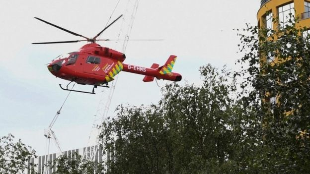 A London Air Ambulance helicopter takes off from outside the Tate Modern