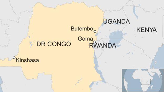 Une carte montrant l'emplacement de Butembo et Goma à l'intérieur de la RD Congo.