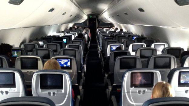 View of the cabin of a US Delta flight between Minneapolis and Baltimore, 25 April 2020