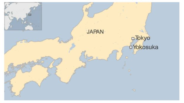 Map of Japan showing Yokosuka