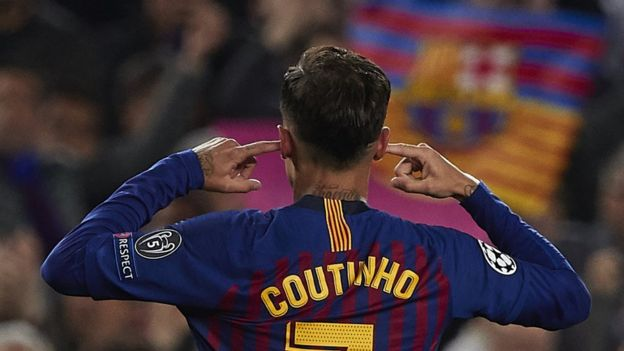 Philippe Coutinho points to his ears after scoring against Manchester United