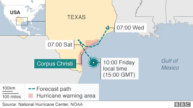 Projected path of Hurricane Harvey - 25 August 2017
