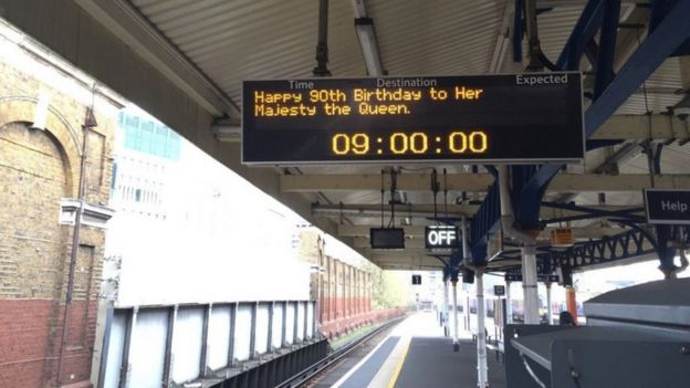 London Underground departure board paying tribute to the Queen