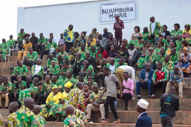 Supporters gather for the inauguration ceremony of Burundi's President-elect Evariste Ndayishimiye following the sudden death of his predecessor Pierre Nkurunziza.