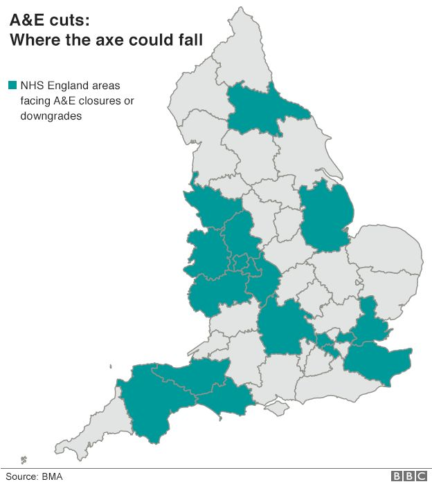 Map showing where A&E cuts may fall
