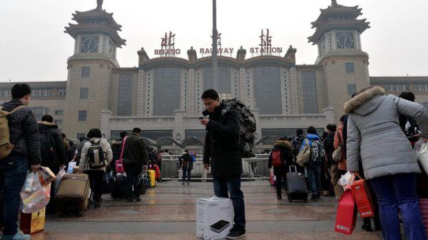 Fachada de estação de trem de Pequim