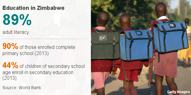 Datapic showing educational statistics in Zimbabwe