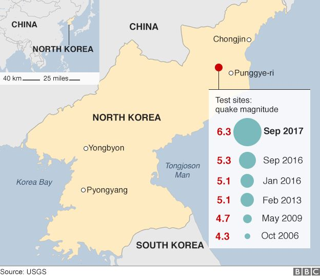 Map: North Korean nuclear testing