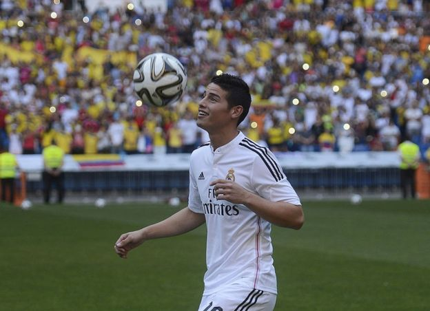 James Rodríguez en su presentación en el Bernabéu