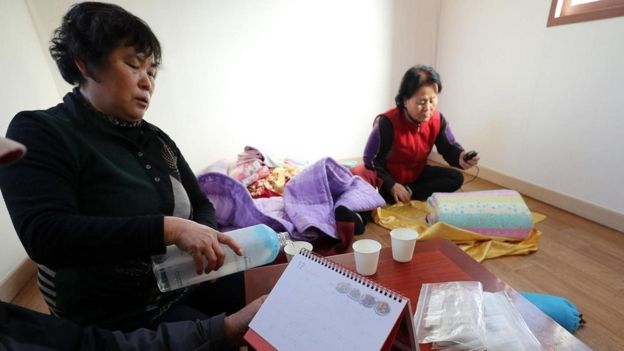 Refugiados del sismo de Pohang