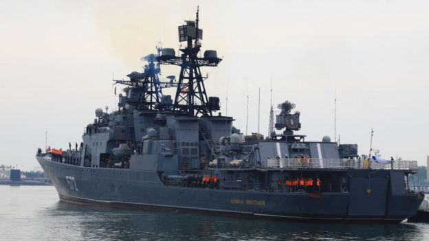 The Russian destroyer Admiral Vinogradov