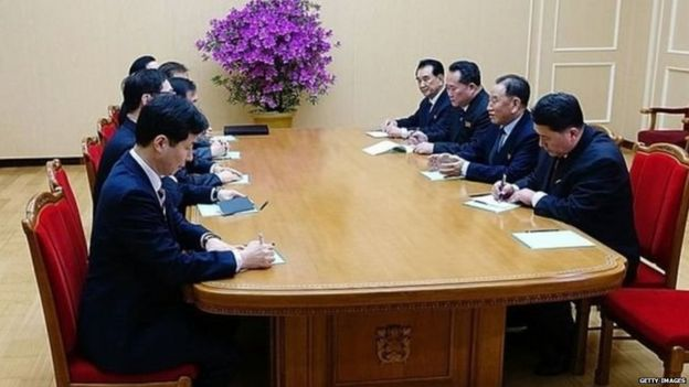 The South Korean team (left) met North Korean officials, and North Korean leader Kim Jong-un (not shown here) later hosted a dinner