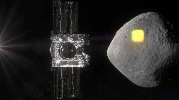 Ilustración del asteroide Bennu y de la sonda OSIRIS-REx.
