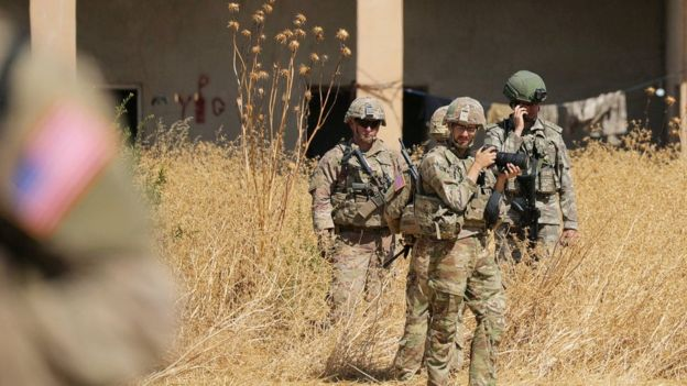 US and Turkish troops on a joint patrol near Tal Abyad, 8 September