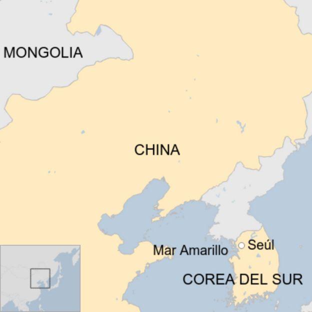 Mapa de China y Corea del Sur