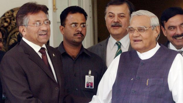 Pakistan President Pervez Musharraf shakes hands with former Indian Prime Minister Atal Bihari Vajpayee in Delhi, 2005.