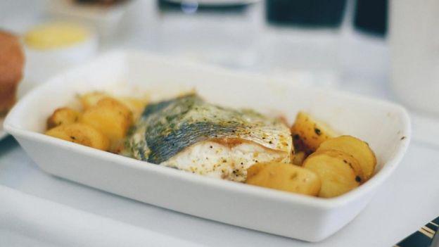 Un plato de comida de avión