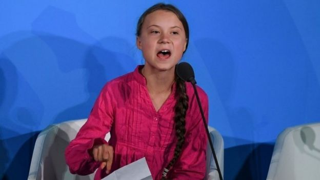 Swedish teenage climate campaigner Greta Thunberg speaks in New York. Photo: 23 September 2019