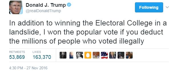 """Donald Trump tweets: """"In addition to winning the Electoral College in a landslide, I won the popular vote if you deduct the millions of people who voted illegally""""."""