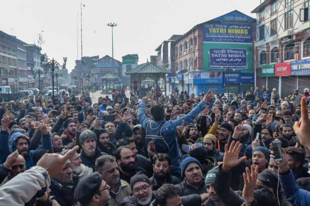 Kashmiri traders are seen shouting slogans during the protest. Traders in Lal Chowk and adjoining markets closed their shops as a mark of protest against attacks on Kashmiris elsewhere in India.