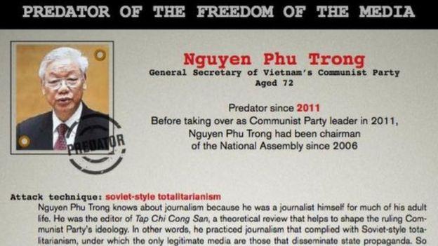 Năm 2016 Tổ chức Phóng viên Không Biên Giới (RSF) đưa Tổng bí thư Nguyễn Phú Trọng vào danh sách