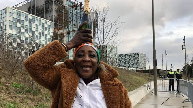 Jaqueline holds Moët bottle on her head as she celebrates