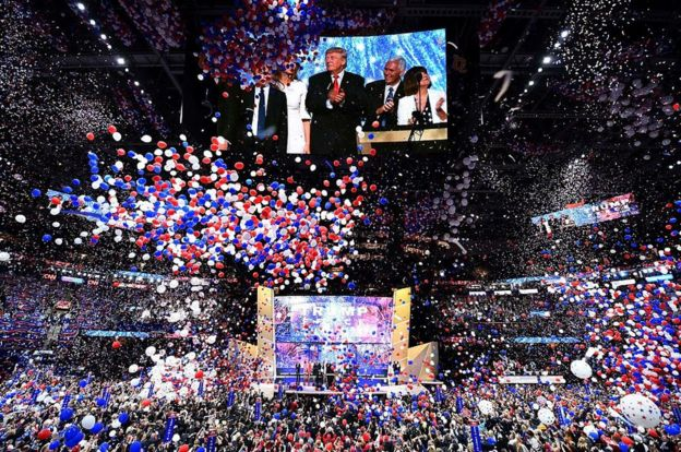 A massive balloon drop is an essential part of any candidate convention