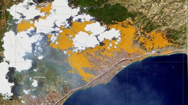 Imagem de satélite mostrando a área queimada perto de Gerania