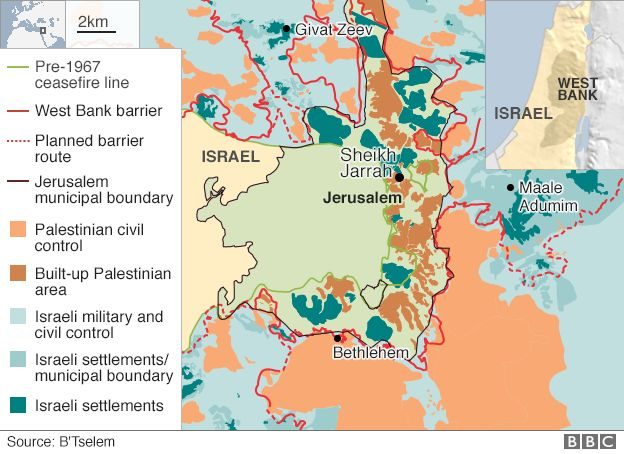 Israel and the palestinians can settlement issue be solved bbc news east jerusalem map israel annexed east jerusalem in gumiabroncs Image collections