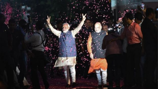 Less Than Zero Christmas Party.Modi Supporters Celebrate Election Win