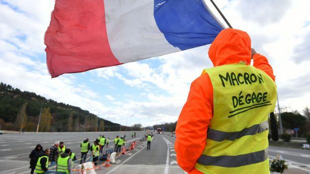 Protesto realizado no dia 9 de dezembro em região próxima a Marseille, na França