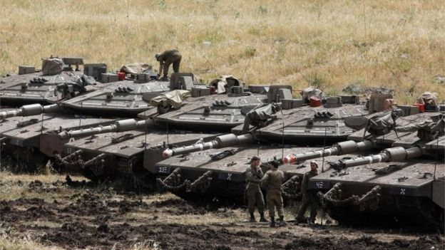 Israeli tanks on occupied Golan Heights (May 2018)