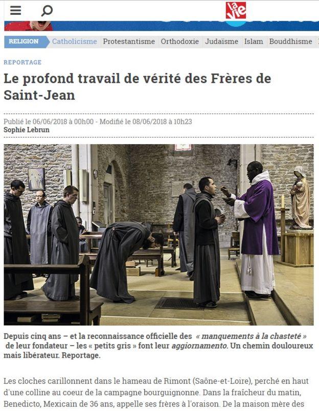 Site do jornal La Vie