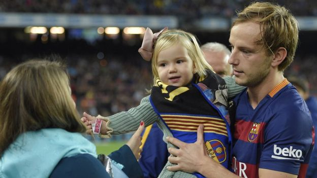 Raquel and Ivan Rakitic, and their daughter
