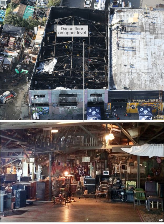 Aerial image of the burnt out venue and a photo of the interior before the fire