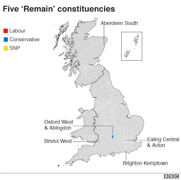 Five Remain constituencies