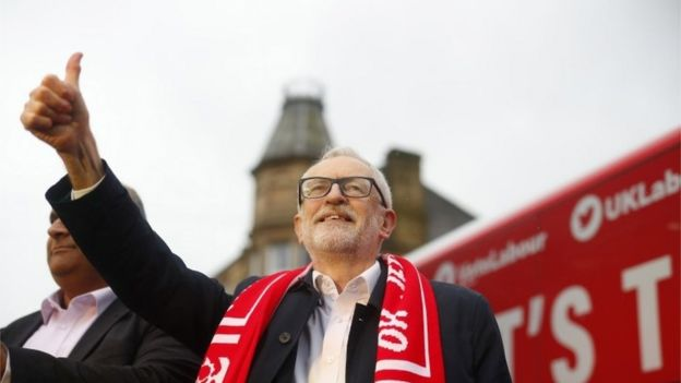 Labour leader Jeremy Corbyn at a campaign rally
