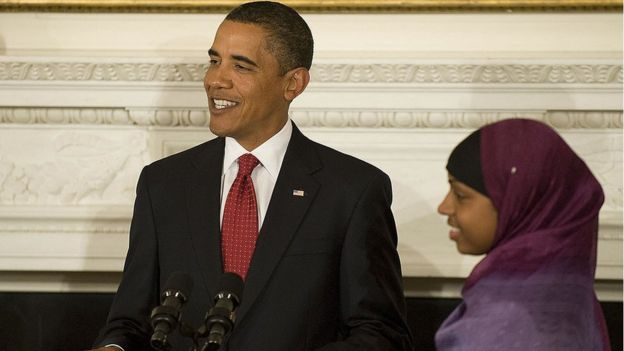 Barack Obama with Bilquis Abdul-Qaadir, basketball player at the University of Memphis, during a speech in which he highlighted the contributions to American society of Muslims. September 1, 2009