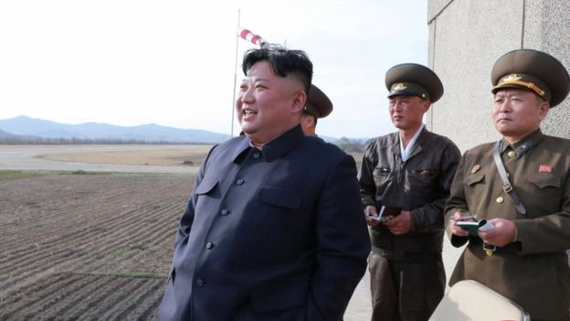 Kim Jong-un watches a flight training on 16 April 2019