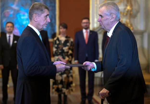 Mr Zeman and Andrej Babis, the newly appointed prime minister