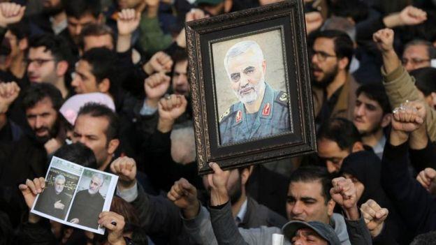 कासिम मारिएको विरोधमा तेहरानमा जुलुस