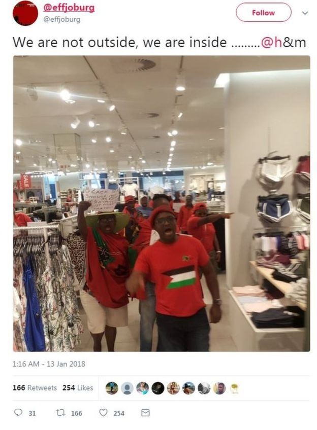 Des militants de EFF ont saccagé les magasins de H&M