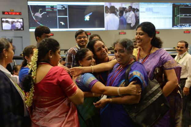 Women at Isro celebrating the moment when Mars orbit was achieved