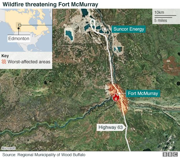Fort Mcmurray Wildfire Map.Alberta Wildfire Emergency Declared In Fort Mcmurray Bbc News
