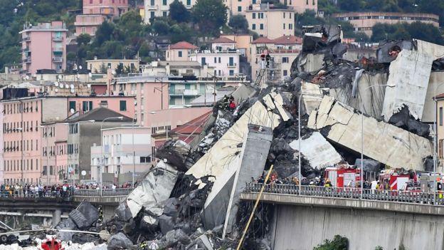 Puente Morandi colapsado en 2018.