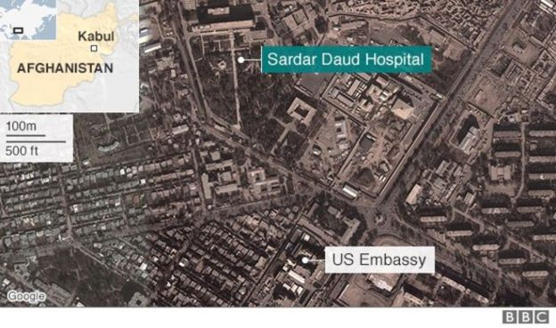Map Showing Location Of Kabul Military Hospital By Us Embassy