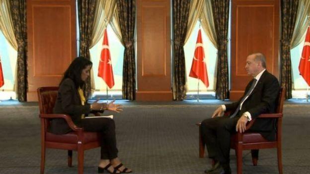 Aparıcı Zeinab Badawi və prezident Erdoğan